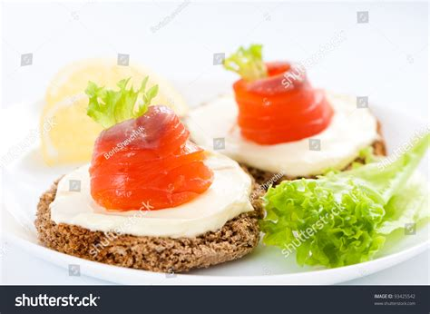 canapé toast canapes with salmon fish rolls on toast stock photo