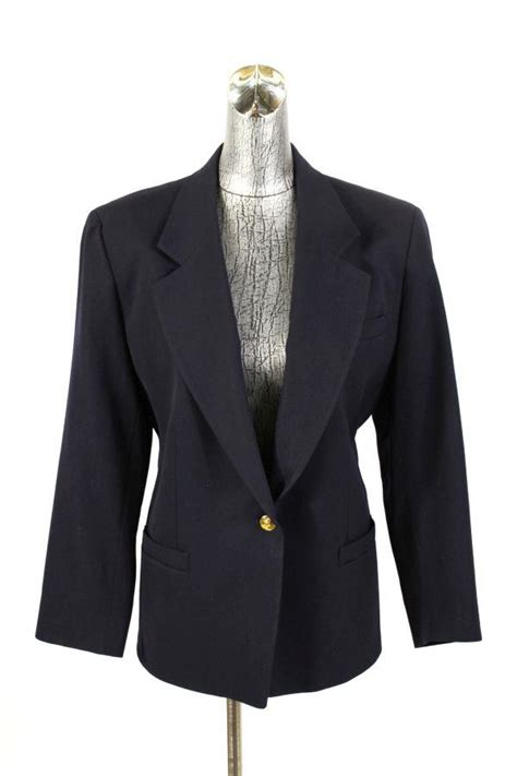 womens navy blue austin reed blazer jacket gold buttons