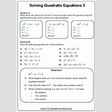 Solving Quadratic Equations Worksheets Cazoomy