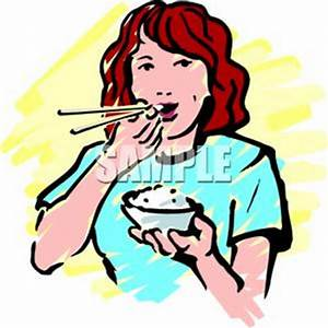 Woman Eating Rice Royalty Free Clipart Picture