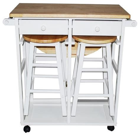 Breakfast Cart Table With 2 Stools, White   Contemporary