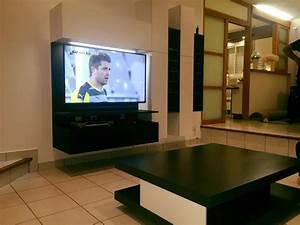 Meuble Sous Tv Suspendu : meuble de salon sur mesure ~ Teatrodelosmanantiales.com Idées de Décoration