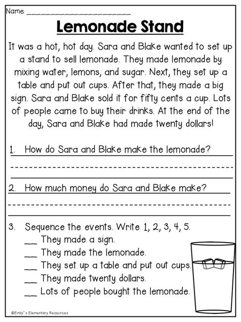 Printable 7th grade reading comprehension worksheets. Summer First Grade Review Printables | Reading ...