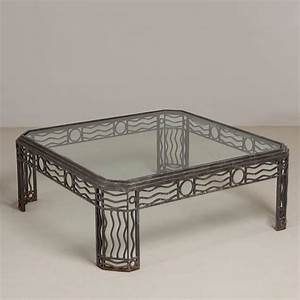 Decorative wrought iron and glass coffee table 1970s for for Decorative glass coffee tables
