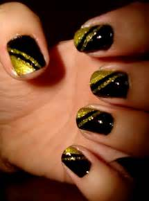 Crystals nail designs black with gold glitter