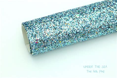 sea chunky blue glitter fabric sheet