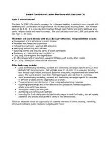 resume cover letter for event planner sle resume format resume free template