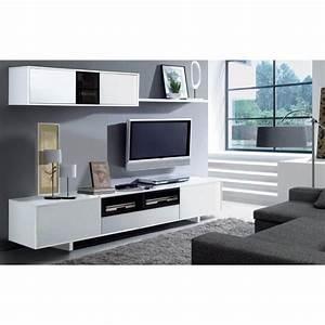 Meuble Tv Mural Blanc : belus meuble tv mural 200 cm noir blanc achat vente ~ Dailycaller-alerts.com Idées de Décoration