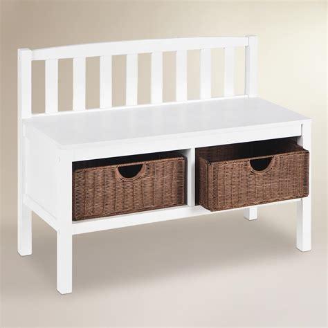 white storage bench white oakdale storage bench world market