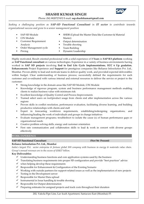 Sap Sd End User Experience Resume by Sap Sd Functional Consultant