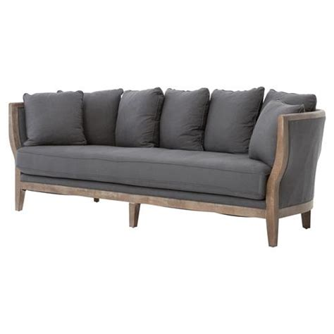 exposed wood frame sofa deanne rustic charcoal grey exposed frame sofa kathy kuo