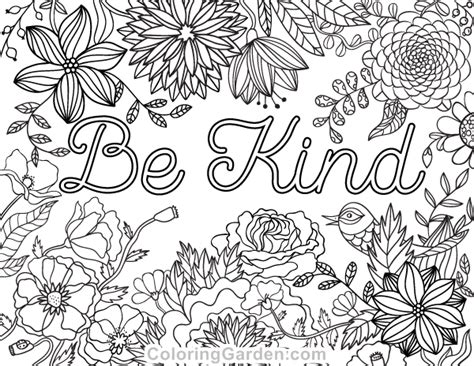 Be Kind Coloring Page Free Printable Be Kind Adult