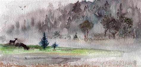 illustration watercolour fog landscape deer