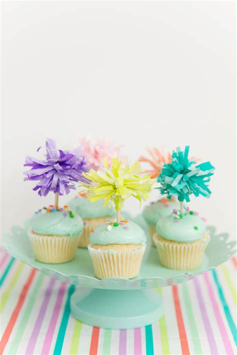 tissue paper cupcake toppers  love  party