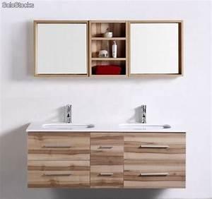 Meuble Vasque Double : meuble salle de bain double vasques saunature 1400mm 280mm ~ Teatrodelosmanantiales.com Idées de Décoration