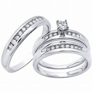 14k white gold wedding trio 5 8 ctw With don roberto jewelers wedding rings