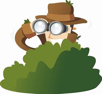 Detective Clipart Private Bushes Cartoon Spy Spying