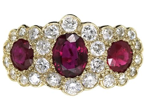 edwardian 18ct gold ruby triple cluster ring the jewellery company