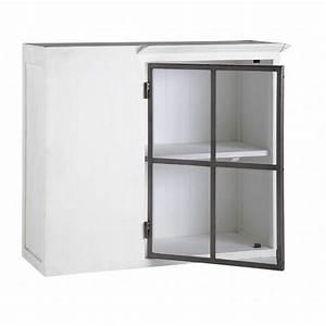 Meuble D Angle Haut Cuisine : meuble haut d 39 angle de cuisine ouverture gauche en bois recycl blanc l 94 cm ostende maisons ~ Teatrodelosmanantiales.com Idées de Décoration