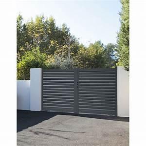 Leroy Merlin Portail : portail battant aluminium elys gris naterial cm x h ~ Nature-et-papiers.com Idées de Décoration