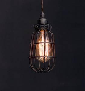 Es enclosed cage pendant vintage lighting