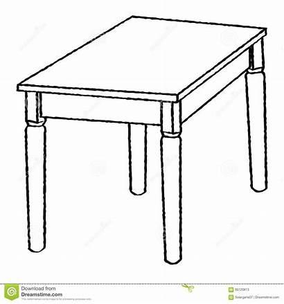 Table Drawing Line Simple Cartoon Coloring Sketch