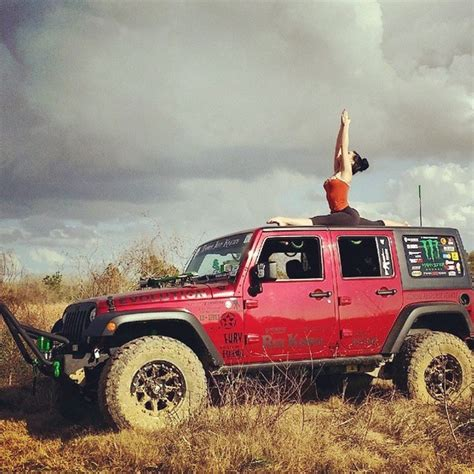 hot yoga girl combines stretching  jeeps