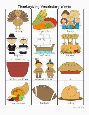 Thanksgiving Vocabulary Printable Great For Writing Centers, Literacy Centers, Word Walls