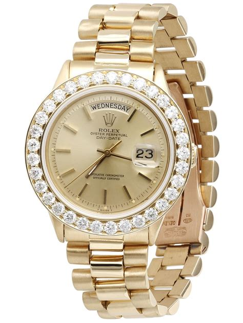 Rolex - Mens Diamond Rolex Day-Date President 18k Yellow ...