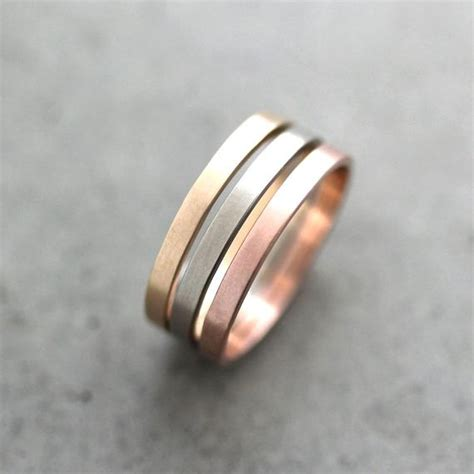 gold wedding band stacking rings mixed metal mm recycled