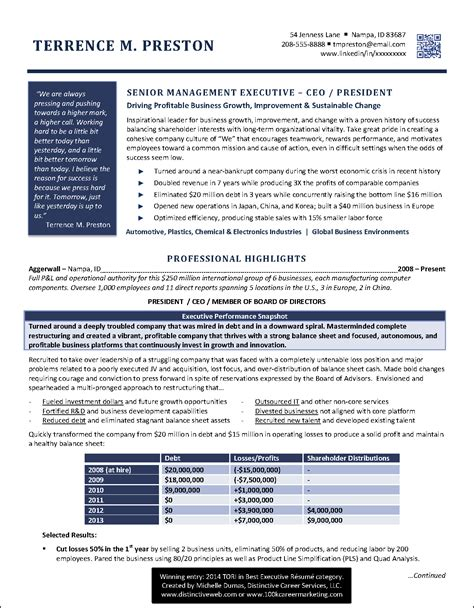 Best Executive Resume Award 2014  Michelle Dumas. Weekly Menu Template Free. Professional Skills In Resumes Template. Trial Balance Spreadsheet Template. Modern Resume Examples 2018 Template