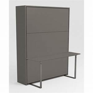 Armoire Lit Pas Cher : armoire lit escamotable stone 160x200 gris bureau achat ~ Nature-et-papiers.com Idées de Décoration