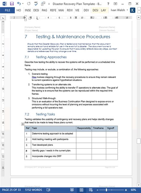 disaster recovery plan template disaster recovery plan template ms word excel