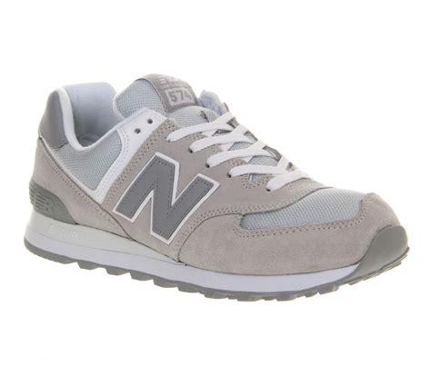 new balance new balance m574 light grey in gray for lyst