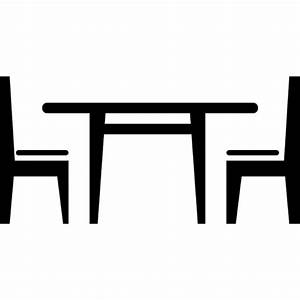 Dining room furniture of a table with chairs Icons | Free ...