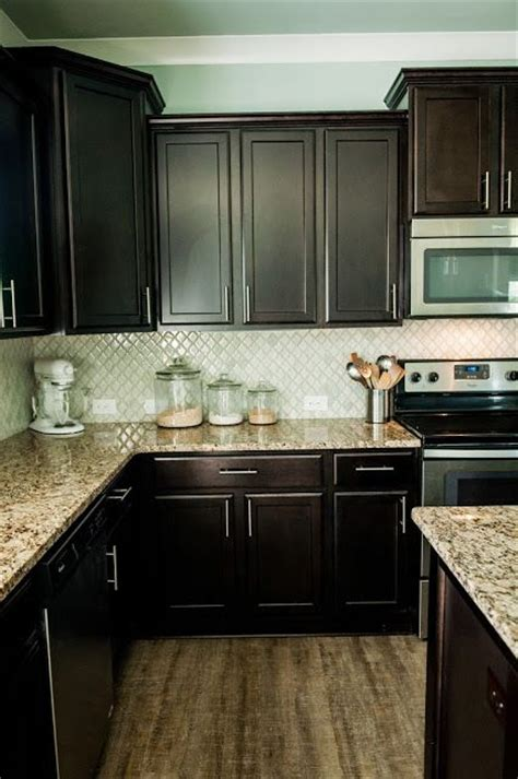 espresso kitchen cabinets with backsplash arabesque selene tile backsplash with espresso cabinets