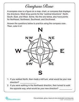 compass rose worksheet educationcom