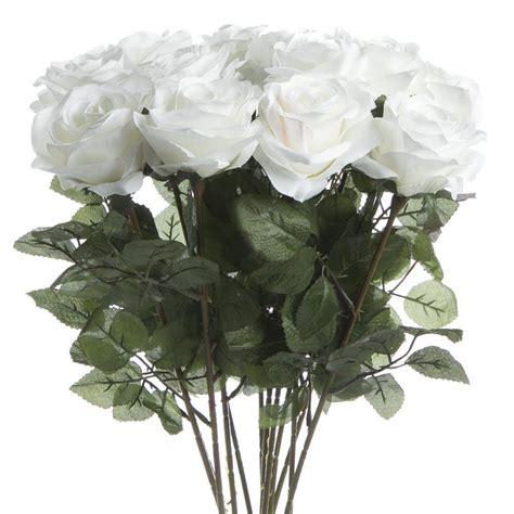 white artificial long stem roses bushes bouquets
