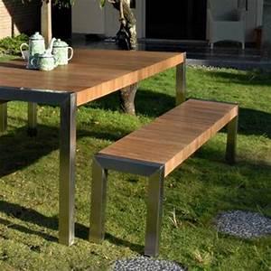 Table De Jardin Avec Banc : salon de jardin bois avec banc ~ Melissatoandfro.com Idées de Décoration
