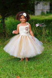 ivory gold champagne flower girl dress ivory flower With robe tutu enfant