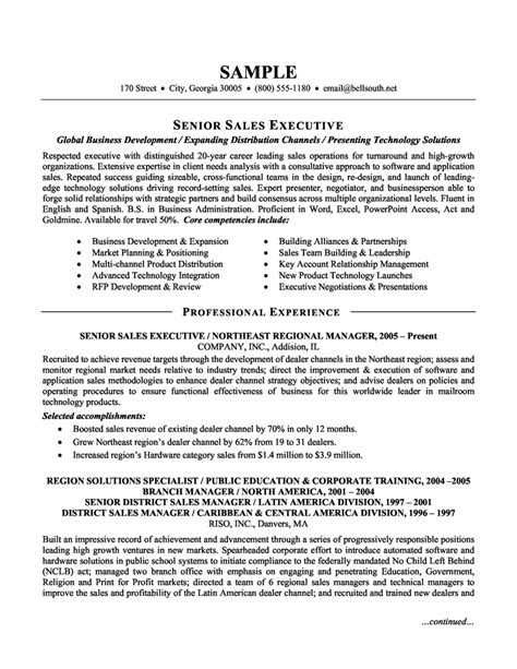 Free Resume Sles by Senior Sales Manager Resume Template Cv Template