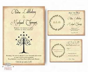 geek wedding invitation set lord of the rings wedding With wedding invitations with rsvp and save the date