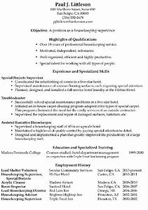 resume sample housekeeping supervisor With housekeeping resume sample
