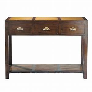 Console En Teck : table console en teck massif et bambou l 110 cm bamboo maisons du monde ~ Teatrodelosmanantiales.com Idées de Décoration
