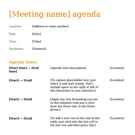 sample agenda templates   ms word