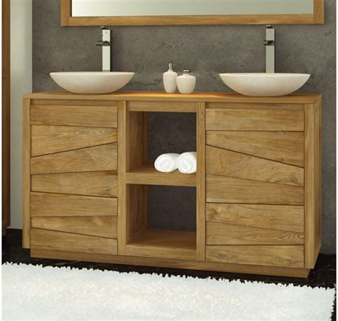 meuble salle de bain bois vasque carrelage salle de bain