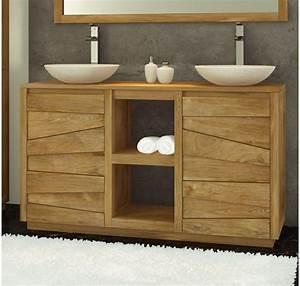 meuble salle de bain double vasque en teck groovy With meuble salle de bain double vasque en teck