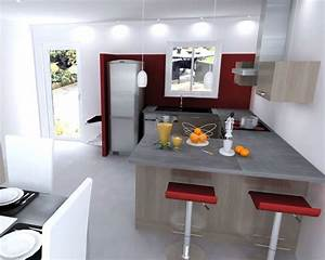 Cuisine equipee bois fonce avec comptoir style quotcuisine for Petite cuisine équipée avec meuble buffet salle à manger