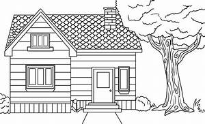 Simple House Drawing For Colouring Free Printable House ...