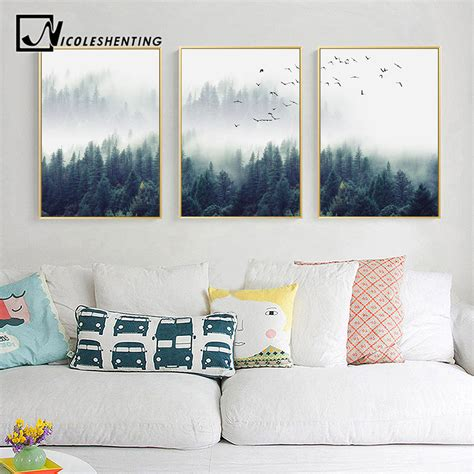 wall home decor nordic decoration forest lanscape wall canvas poster